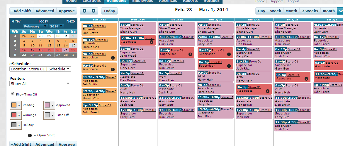 What do the different colors on my eSchedule represent?