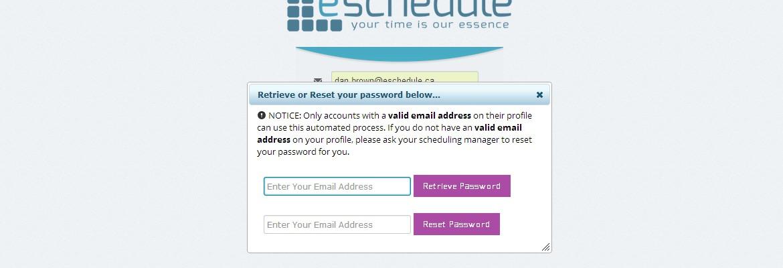 How do I reset or retrieve a forgotten password? » eSchedule
