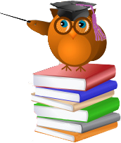 Owl on Books with Pointer