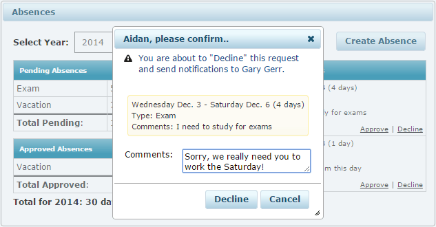 Absence Management Comment Box